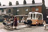 Ice cream van on terraced street - Manchester 1965
