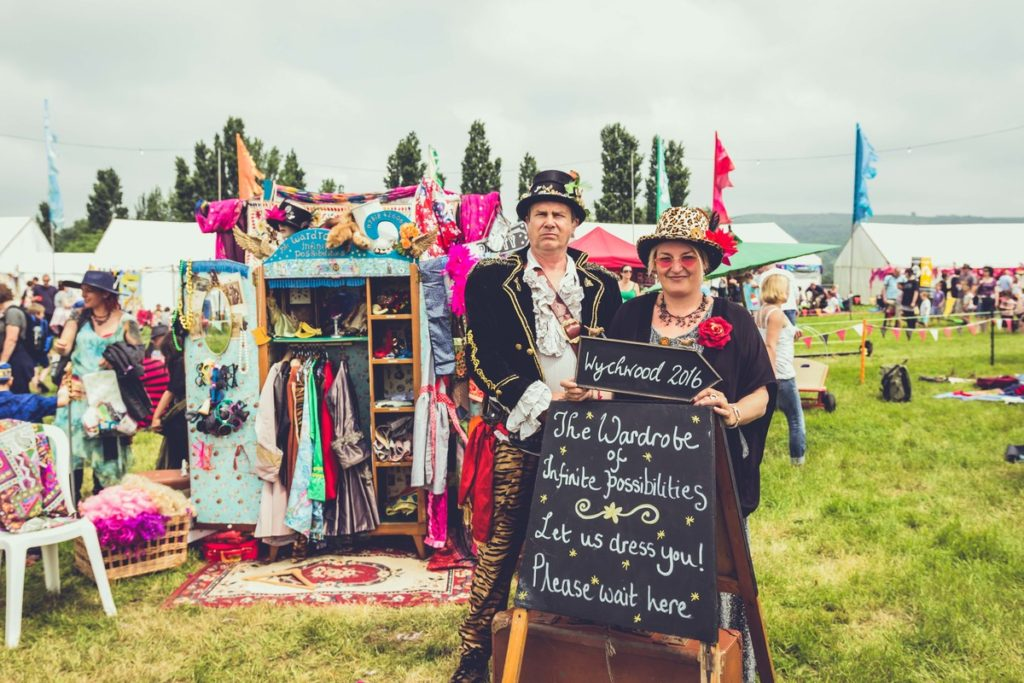 A clothes stall at wychwood festival