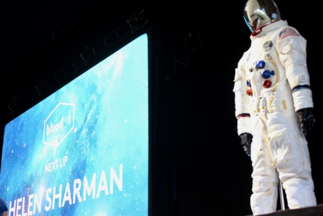 Helen Sharman and Spacesuit at Bluedot